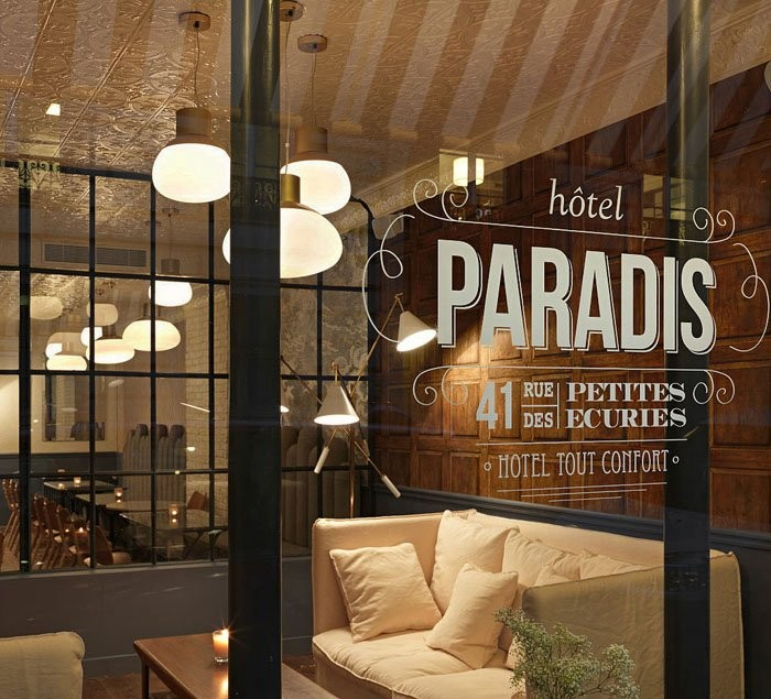 Hotel Paradis в Париже, дизайн интерьеров