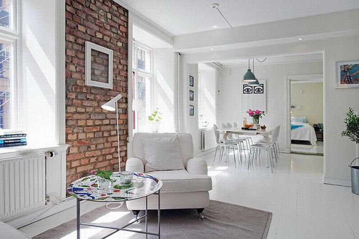 Интерьер небольшой квартиры: белый цвет, скандинавский стиль