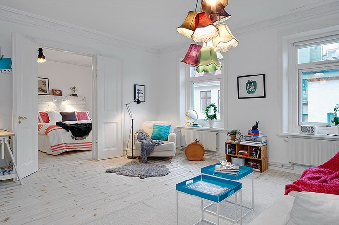 Белый  Двухкомнатная квартира в Швеции