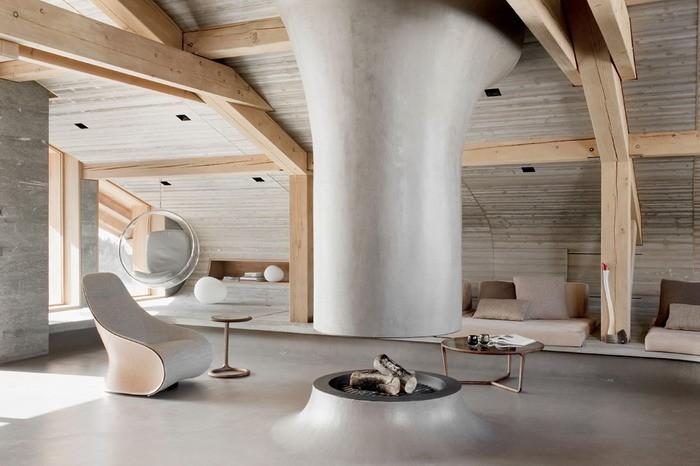 Современный дизайн дома в Альпах