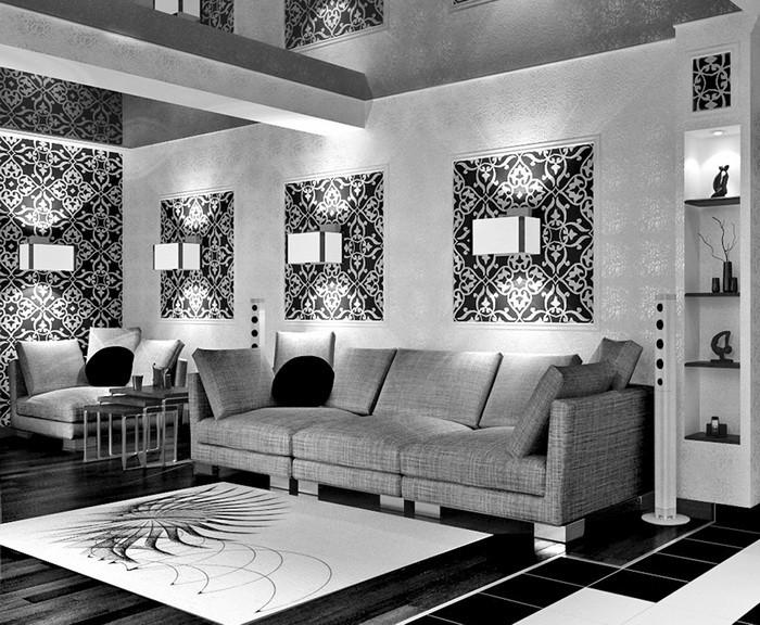Черный Черное и белое Белый  Шахматный интерьер