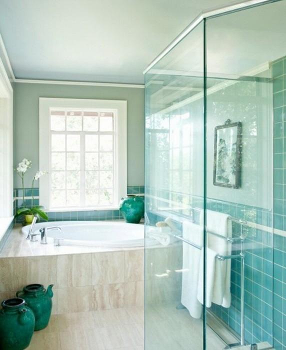 Бирюзовый  Бирюзовый цвет в ванной комнате