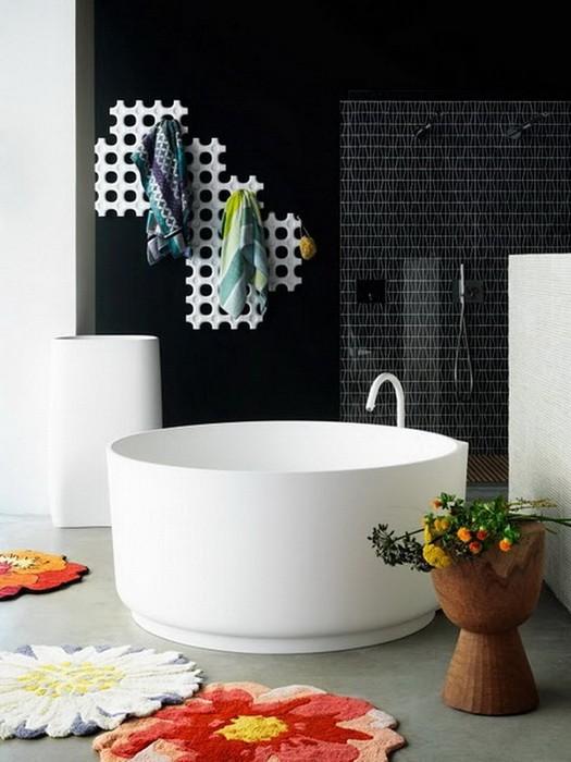 Черное и белое  Черно белый интерьер ванных