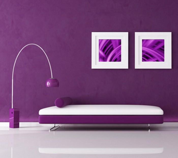 Фиолетовый  Фиолетовый цвет в гостиной