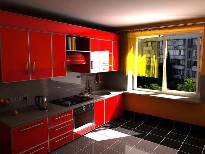 Интерьер для красной кухни фото