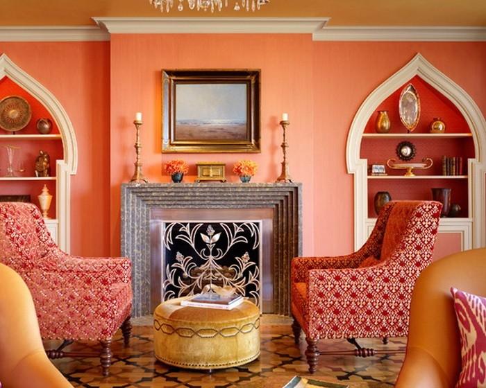 Оранжевый  Оранжевой цвет в гостиной
