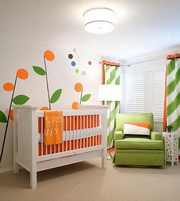 Оранжевый  Оранжевый цвет в детской