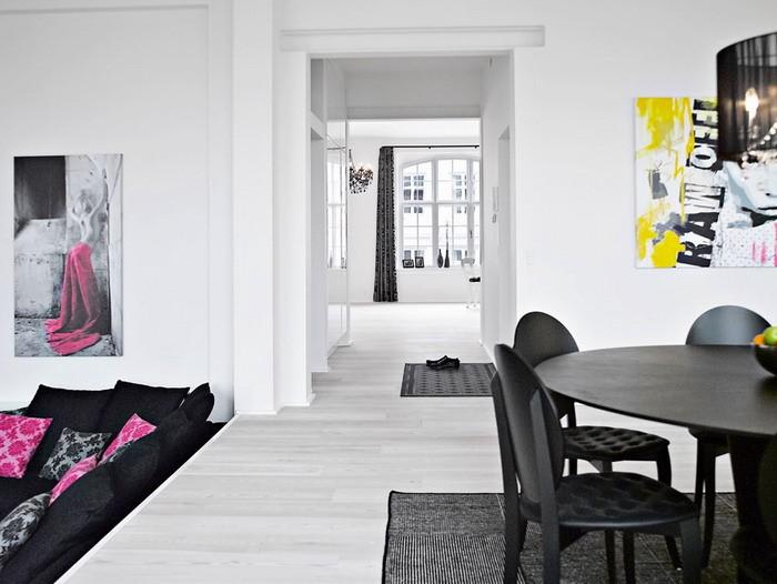 Чёрно-белый интерьер для квартиры