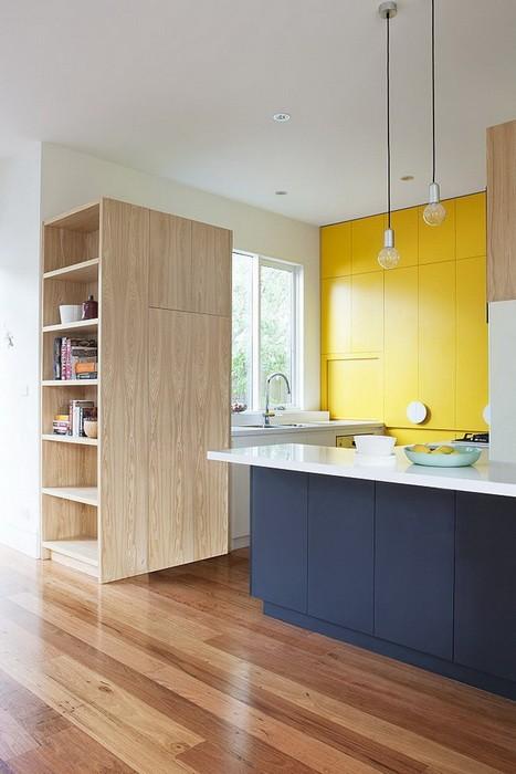 Жёлтый цвет в интерьере кухни