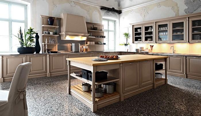 Кухни с рабочей зоной в виде очага