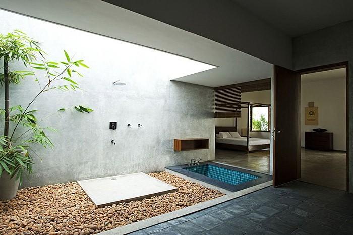 Ванная с двориком для SPA