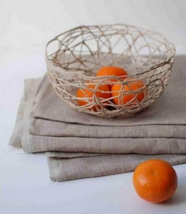 Ваза для фруктов из ниток