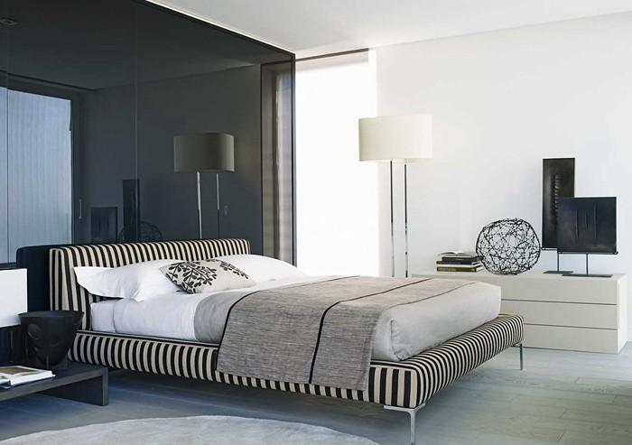 Черное и белое  Монохромный интерьер спальни