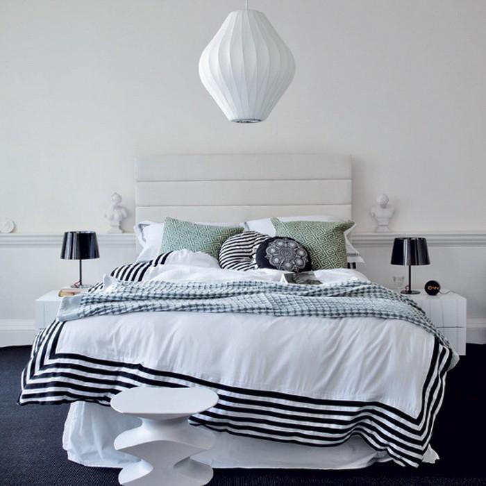 Черное и белое  Черно белые спальни