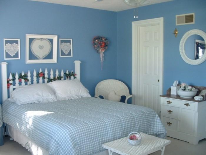 Синий Голубой  Интерьер спальни в синих и голубых цветах
