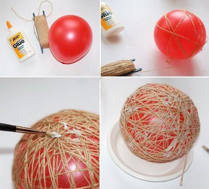 Novogodnyaya igrushka iz sharika i nitok 01 Новогодняя игрушка из шарика и ниток sdelay sam