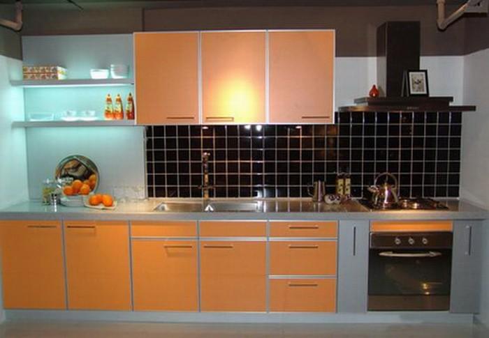 Оранжевый  Оранжевый цвет в интерьере кухни