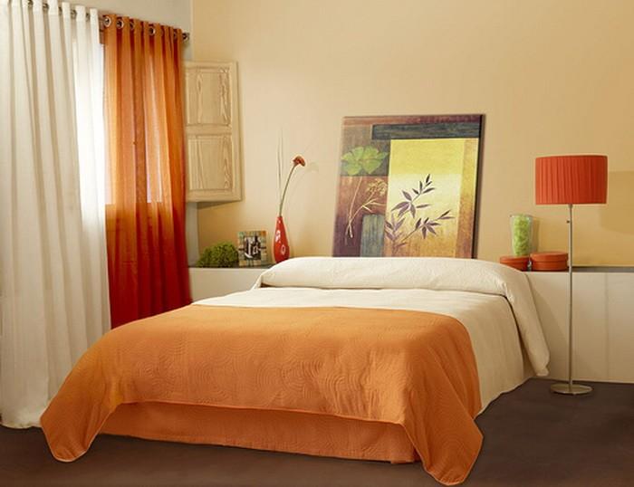 Оранжевый  Оранжевый цвет в интерьере спальни