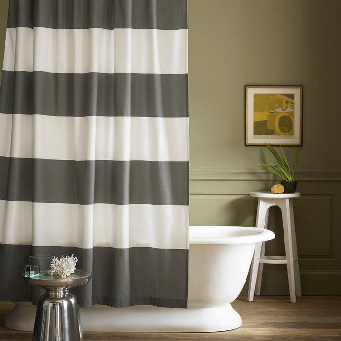 Полосы  Полосатый интерьер ванной комнаты