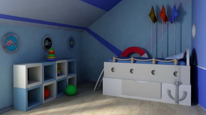Синий Голубой  Детские комнаты в синем и голубом цвете