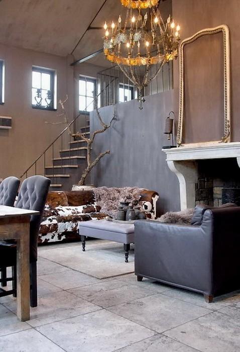 Серый Бежевый  Дом в серо бежевой гамме