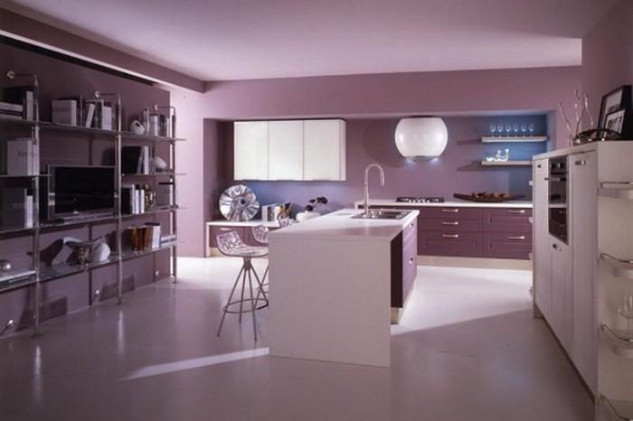 Фиолетовый  Фиолетовый цвет в интерьере кухни
