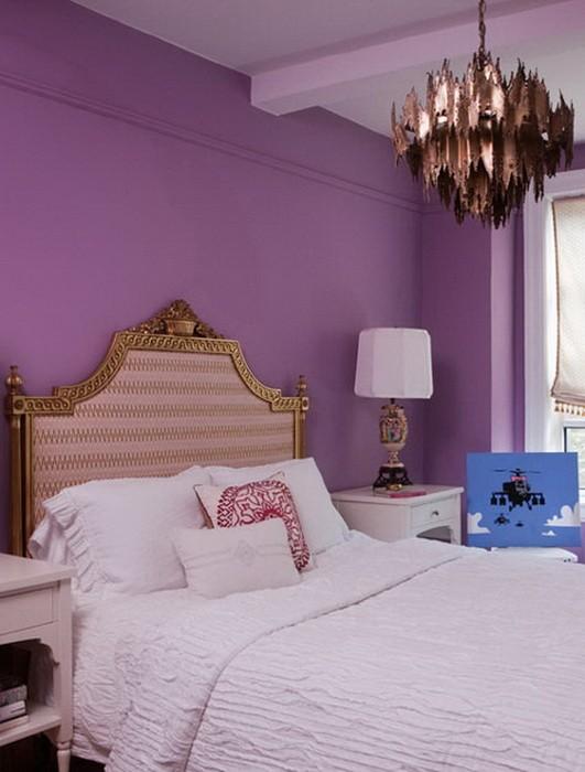 Фиолетовый  Фиолетовый цвет в интерьере спальни