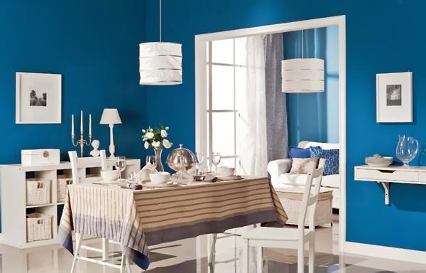 Голубой  Гостиная в голубых цветах