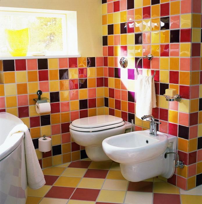 Оранжевый  Оранжевый цвет в интерьере ванной