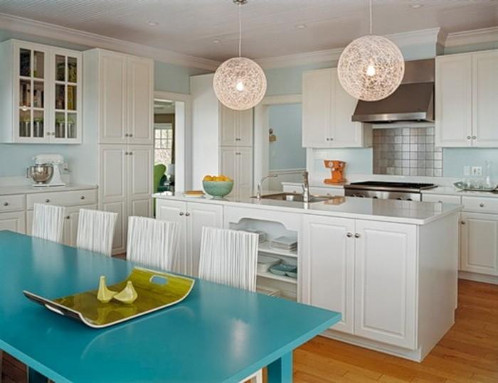 Бирюзовый  Бирюзовый цвет в интерьере кухни