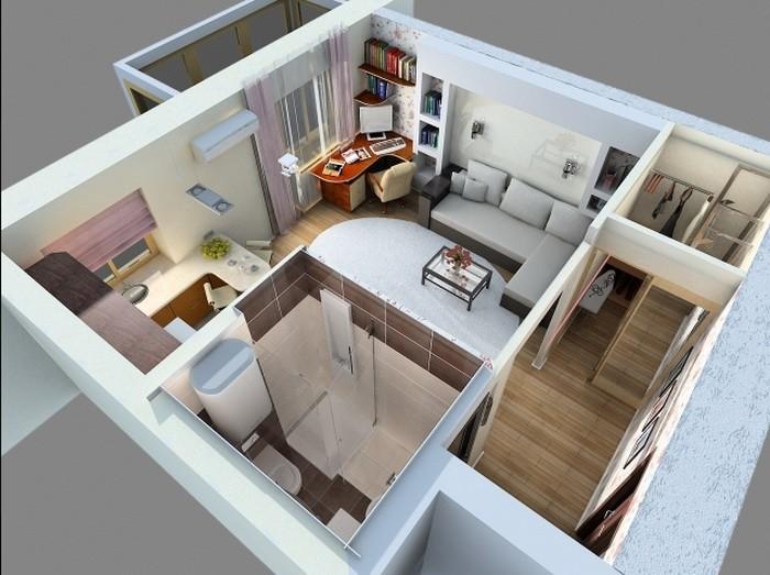 Маленькая  Интерьер однокомнатной квартиры