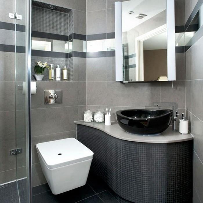 Curved bathroom vanity unit