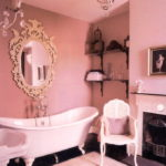Розовая ванная комната, интерьер, дизайн