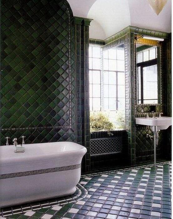 Зеленый  Глубокие оттенки зеленого цвета в интерьере