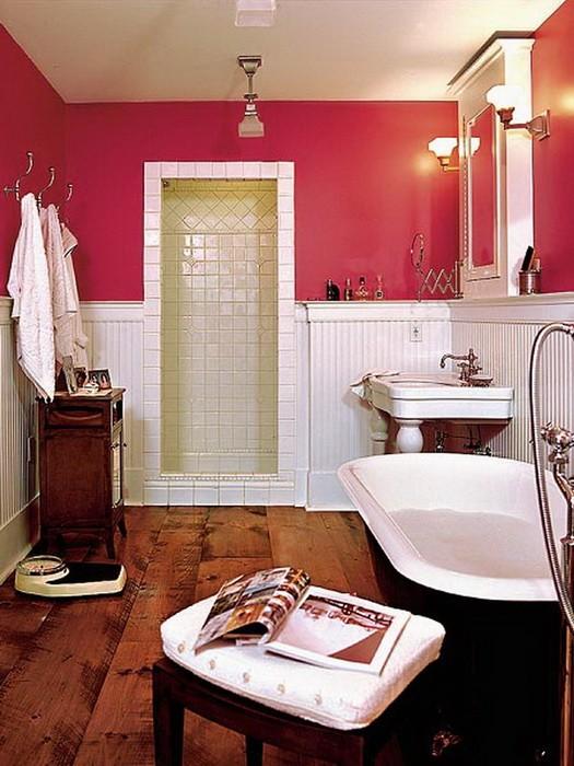 Красный  Красный в интерьере ванной