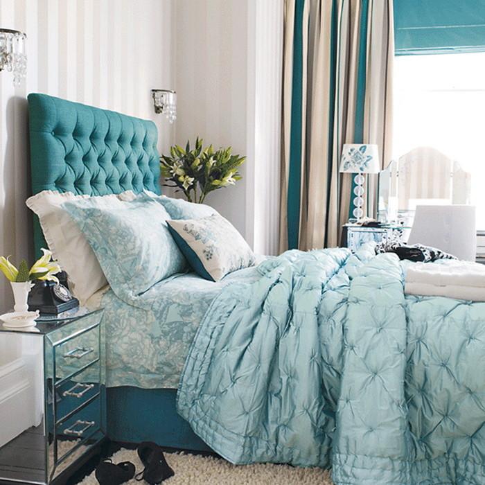 Яркий Синий Бирюзовый  Бирюза в спальне