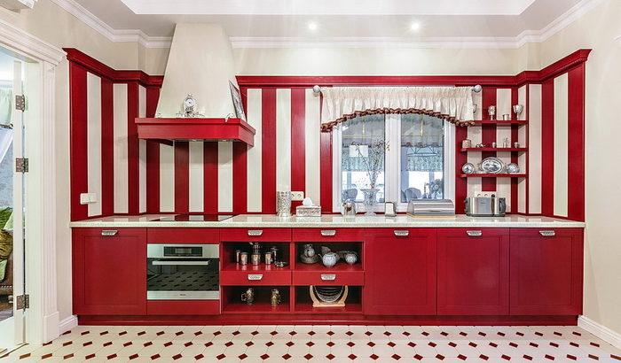 Красный цвет для интерьера кухни