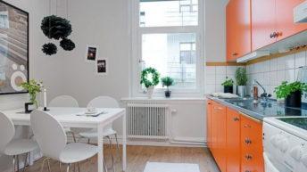 Оранжевый цвет для интерьера кухни