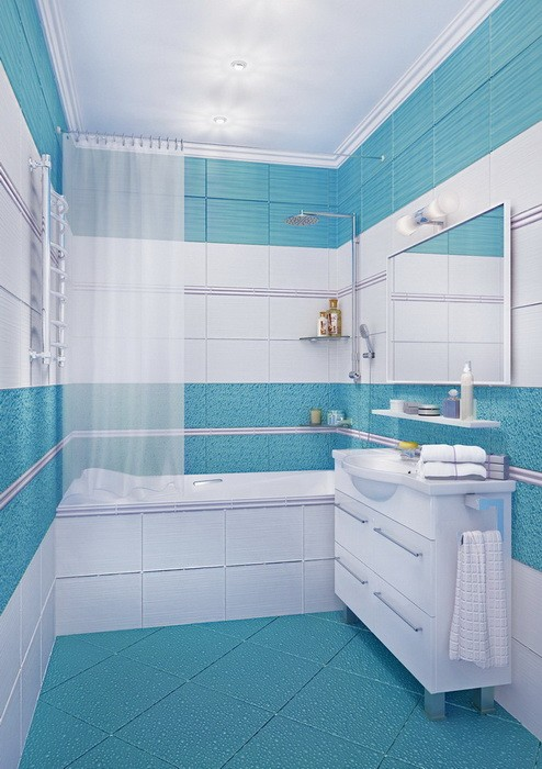 Голубая ванная комната