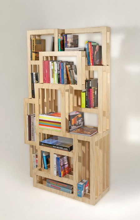 Awesome Modern Minimalist Wooden Style Homemade Bookshelves