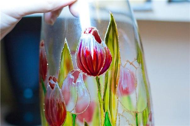 Роспись стеклянной вазы своими руками