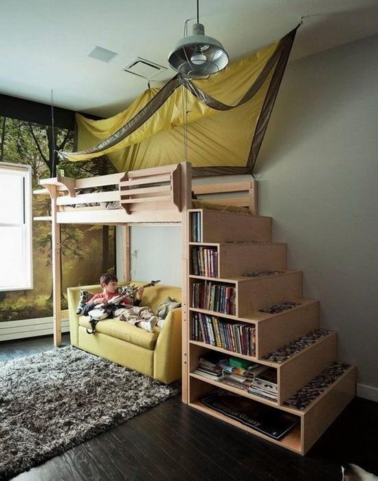 Кровать под потолком в детской_07