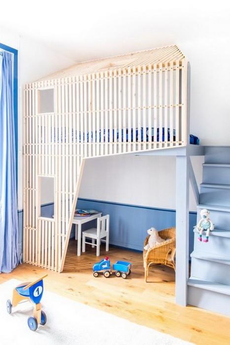Кровать под потолком в детской_10