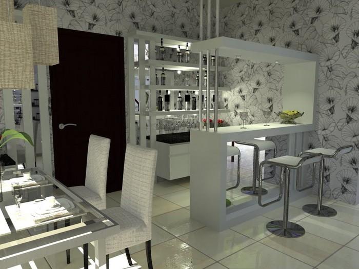 Барная стойка в интерьере гостиной_07