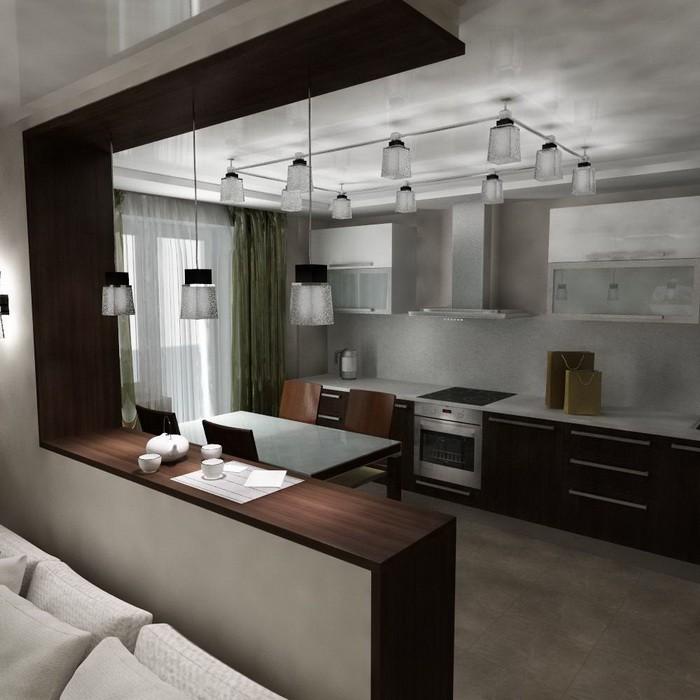 Барная стойка в интерьере гостиной_10