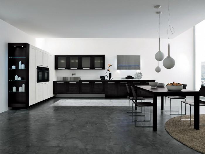 Черно-белый интерьер кухни со столовой_01