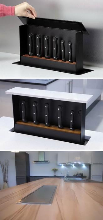 Идеи по хранению ножей на кухне