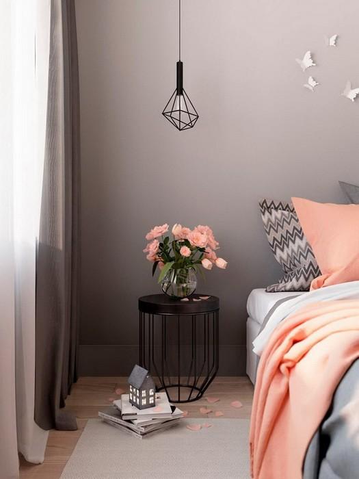 Серый  Дизайн спальни в сером цвете