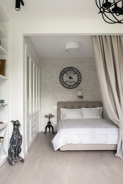 Белый  Дизайн квартиры студии в белом цвете