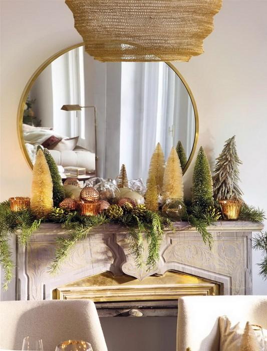Золотой новогодний декор дома_06